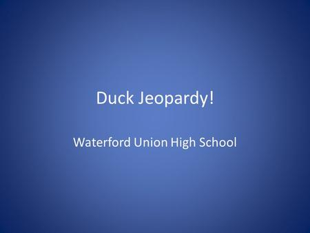 Duck Jeopardy! Waterford Union High School. $100 $200 $300 $400 $500 PuddlesDouble Puddle DiversDouble Diver Swans & Stuff The Sixth One.