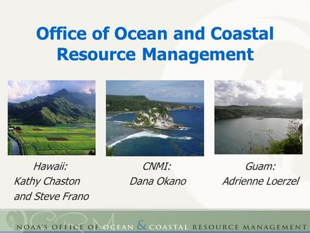 Office of Ocean and Coastal Resource Management Hawaii: CNMI: Guam: Kathy Chaston Dana Okano Adrienne Loerzel and Steve Frano.