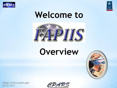 Https://www.cpars.gov 08/20/2015 1 Welcome to Overview.