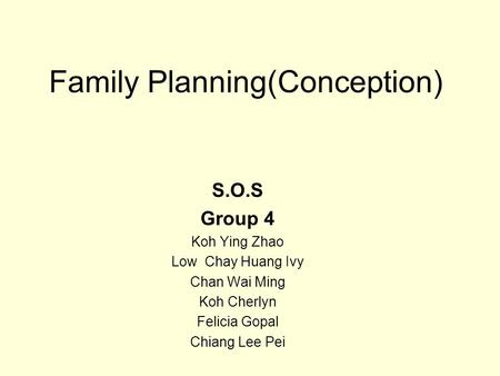 Family Planning(Conception)