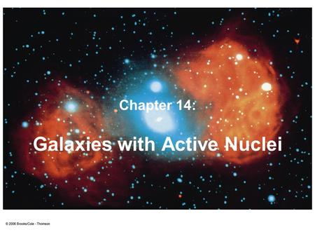 "Galaxies with Active Nuclei Chapter 14:. Active Galaxies Galaxies with extremely violent energy release in their nuclei (pl. of nucleus).  ""active galactic."