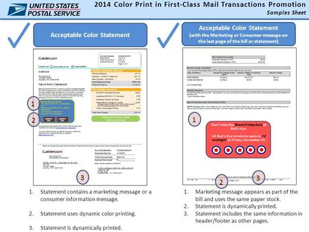 Acceptable Color Statement 2014 Color Print in First-Class Mail Transactions Promotion Samples Sheet 1.Statement contains a marketing message or a consumer.