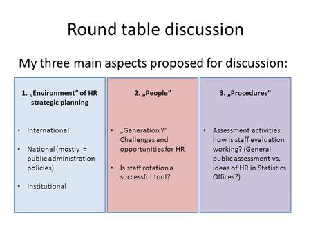 "Round table discussion My three main aspects proposed for discussion: 1. ""Environment"" of HR strategic planning International National (mostly = public."
