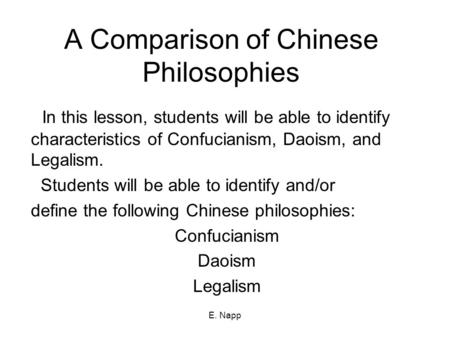 Philosophical traditions of Confucianism, Daoism & Legalism Essay Sample