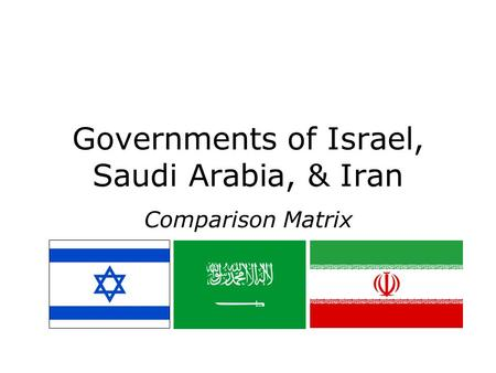 Governments of Israel, Saudi Arabia, & Iran Comparison Matrix.
