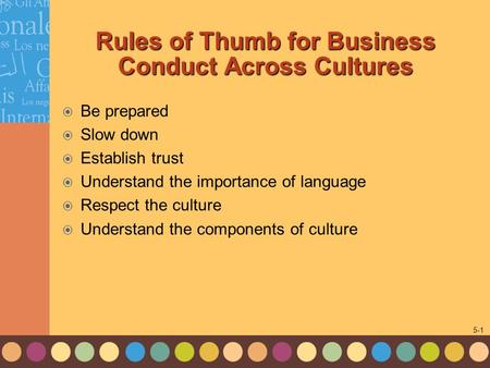 1-1 5-1 Rules of Thumb for Business Conduct Across Cultures  Be prepared  Slow down  Establish trust  Understand the importance of language  Respect.