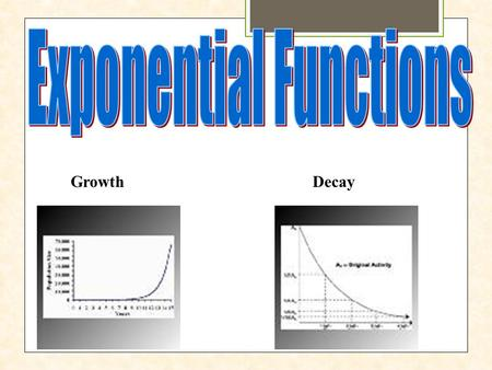 GrowthDecay. If a quantity increases by the same proportion r in each unit of time, then the quantity displays exponential growth and can be modeled by.