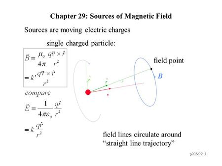 P202c29: 1 Chapter 29: Sources of Magnetic Field Sources are moving electric charges single charged particle: v field point B r r ^ field lines circulate.