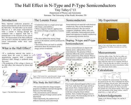 The Hall Effect in N-Type and P-Type Semiconductors Trey Talley C'13 Department of Physics and Astronomy Sewanee: The University of the South, Sewanee,