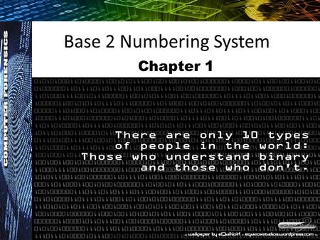Base 2 Numbering System Chapter 1.