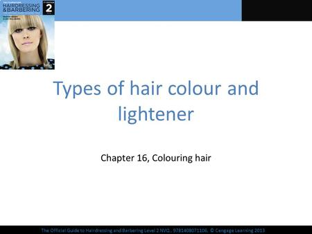 The Official Guide to Hairdressing and Barbering Level 2 NVQ, 9781408071106, © Cengage Learning 2013 Types of hair colour and lightener Chapter 16, Colouring.