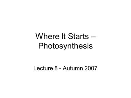 Where It Starts – Photosynthesis Lecture 8 - Autumn 2007.