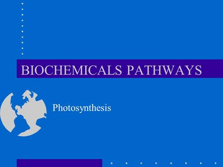 BIOCHEMICALS PATHWAYS Photosynthesis PHOTOSYNTHESIS PHOTOSYNTHESIS OCCURS WITHIN CHLOROPLASTS RADIANT ENERGY (SUNLIGHT) IS CONVERTED TO CHEMICAL ENERGY.