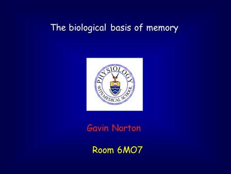 The biological basis of memory Gavin Norton Room 6MO7.