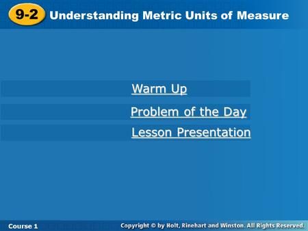 9-2 Warm Up Problem of the Day Lesson Presentation