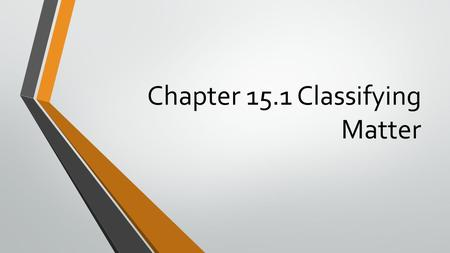 Chapter 15.1 Classifying Matter. A. What is matter? 1. Matter is anything that has mass and takes up space.