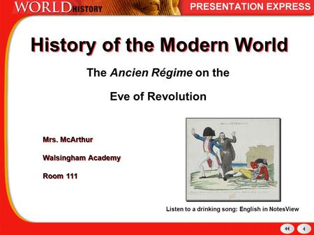History of the Modern World The Ancien Régime on the Eve of Revolution Mrs. McArthur Walsingham Academy Room 111 Mrs. McArthur Walsingham Academy Room.
