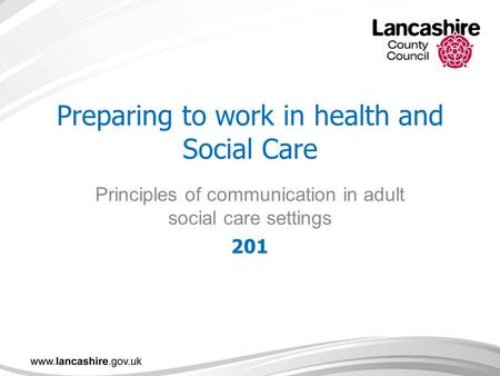 Preparing to work in health and Social Care