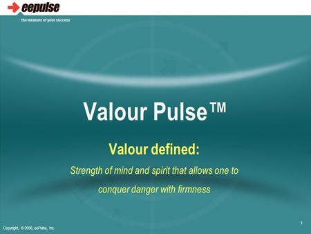Copyright, © 2006, eePulse, Inc. the measure of your success 1 Valour Pulse™ Valour defined: Strength of mind and spirit that allows one to conquer danger.