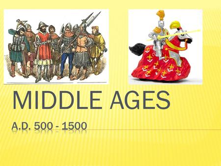 "MIDDLE AGES.  Begins – Fall of Western Roman Empire  Ends – Renaissance  Called ""Middle Ages"" – time period in between Classical Age (Greeks/Romans)"