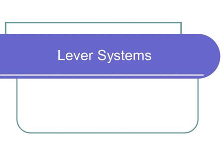 Lever Systems. Definitions Lever – A bar that is free to pivot around a center point (Changes direction and/or amount of force). Fulcrum – The fixed point.
