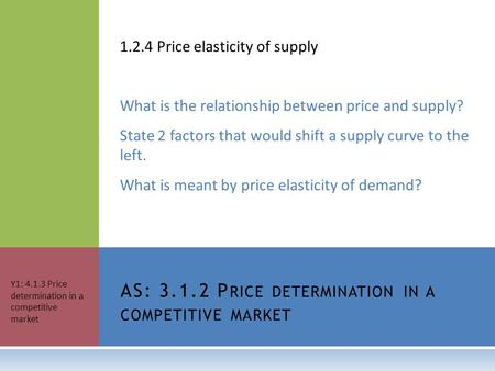 1.2.4 Price elasticity of supply What is the relationship between price and supply? State 2 factors that would shift a supply curve to the left. What is.