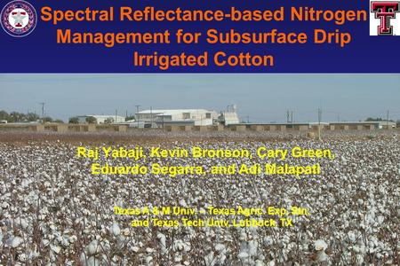 Spectral Reflectance-based Nitrogen Management for Subsurface Drip Irrigated Cotton Raj Yabaji, Kevin Bronson, Cary Green, Eduardo Segarra, and Adi Malapati.
