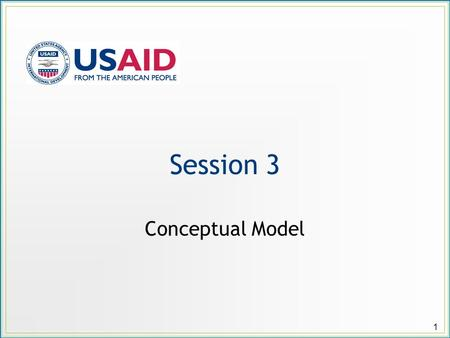 Session 3 Conceptual Model 1. Session Objectives Prepare a conceptual model that illustrates: The current situational dynamics at play in a selected project.