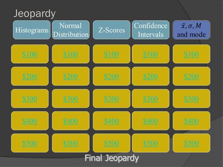 Jeopardy $100 Histograms Normal Distribution Z-Scores Confidence Intervals $200 $300 $400 $500 $400 $300 $200 $100 $500 $400 $300 $200 $100 $500 $400.