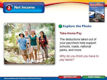 Take-Home Pay The deductions taken out of your paycheck help support schools, roads, national parks, and more. Why do you think you have to pay taxes?