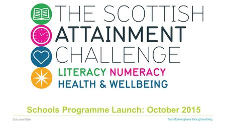 Document title Transforming lives through learning Schools Programme Launch: October 2015.