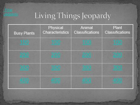 Busy Plants Physical Characteristics Animal Classifications Plant Classifications 100 200 300 400 Final Jeopardy.
