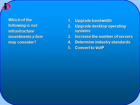 1.Upgrade bandwidth 2.Upgrade desktop operating systems 3.Increase the number of servers 4.Determine industry standards 5.Convert to VoIP Which of the.