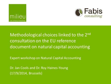 Methodological choices linked to the 2 nd consultation on the EU reference document on natural capital accounting Expert workshop on Natural Capital Accounting.