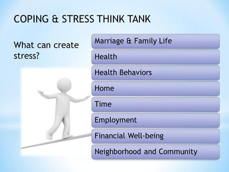 Marriage & Family LifeHealthHealth BehaviorsHomeTimeEmploymentFinancial Well-beingNeighborhood and Community What can create stress? COPING & STRESS THINK.