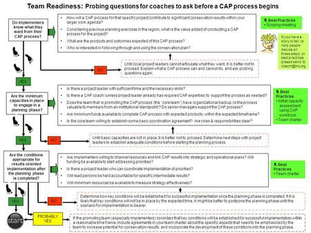 Team Readiness: Probing questions for coaches to ask before a CAP process begins Do implementers know what they want from their CAP process? Are the minimum.