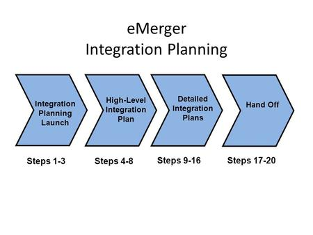 EMerger Integration Planning Integration Planning Launch Steps 1-3 High-Level Integration Plan Steps 4-8 Detailed Integration Plans Steps 9-16 Hand Off.