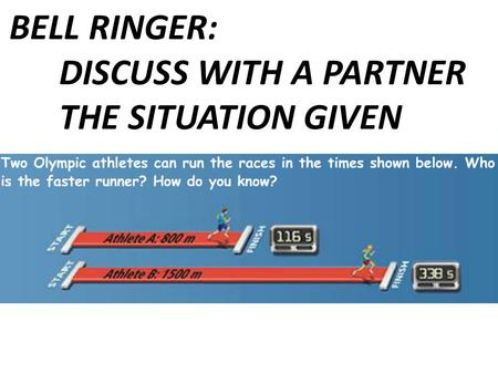 BELL RINGER: DISCUSS WITH A PARTNER THE SITUATION GIVEN.