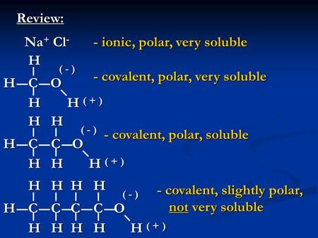 Review: - ionic, polar, very soluble HCO HHH Na + Cl - ( - ) ( + ) - covalent, polar, very soluble HCO HHH ( - ) ( + ) C HH - covalent, polar, soluble.