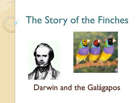 Darwin and the Galágapos The Story of the Finches.