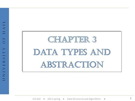U n i v e r s i t y o f H a i l 1 ICS 202  2011 spring  Data Structures and Algorithms 
