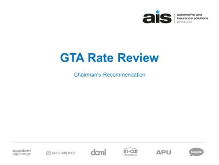 GTA Rate Review Chairman's Recommendation. The Chairman has opined… 2.