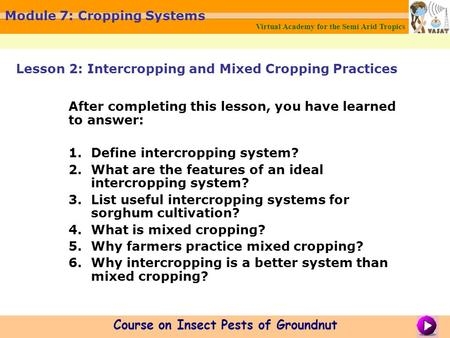 Virtual Academy for the Semi Arid Tropics Course on Insect Pests of Groundnut Module 7: Cropping Systems After completing this lesson, you have learned.