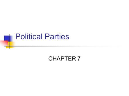 Political Parties CHAPTER 7. Parties- Here & Abroad Political party: a party is a group that seeks to elect candidates to public office by supplying them.