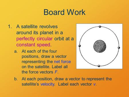 Board Work 1.A satellite revolves around its planet in a perfectly circular orbit at a constant speed. a.At each of the four positions, draw a vector representing.