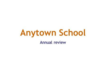 Anytown School Annual review. English targets for 2001/2 Raise reading levels Improve writing of both prose and poetry Improve standards of handwriting.