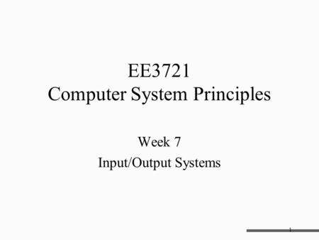 EE3721 Computer System Principles