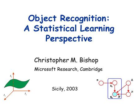 Christopher M. Bishop Object Recognition: A Statistical Learning Perspective Microsoft Research, Cambridge Sicily, 2003.