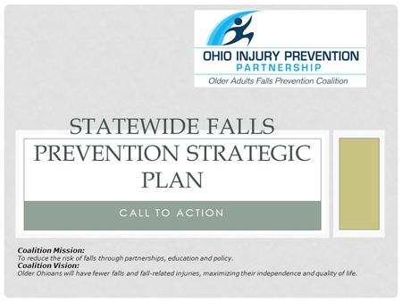 CALL TO ACTION STATEWIDE FALLS PREVENTION STRATEGIC PLAN Coalition Mission: To reduce the risk of falls through partnerships, education and policy. Coalition.
