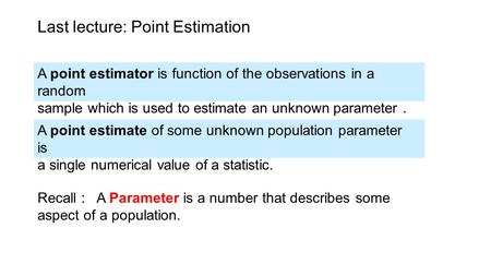 Last lecture: Point Estimation A point estimator is function of the observations in a random sample which is used to estimate an unknown parameter. A point.